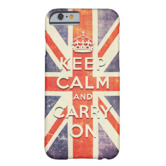 Vintage Union Jack flag keep calm and carry on Barely There iPhone 6 Case