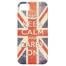 Vintage Union Jack flag keep calm and carry on iPhone 5 Case
