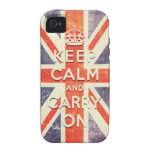 Vintage Union Jack flag keep calm and carry on iPhone 4 Cases