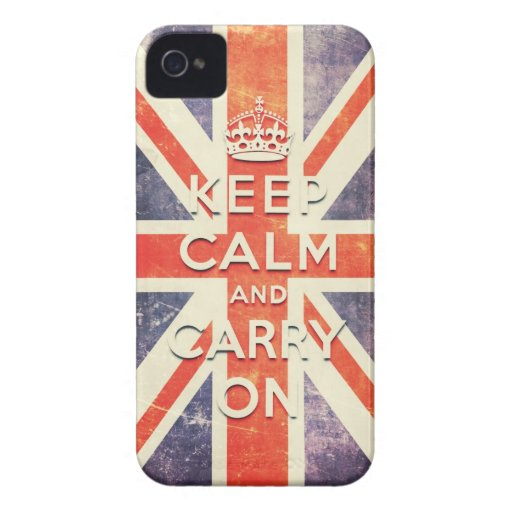 Vintage Union Jack flag keep calm and carry on iPhone 4 Case-Mate Cases
