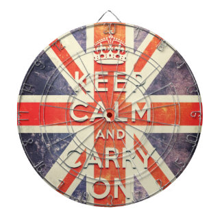 Vintage Union Jack flag keep calm and carry on Dartboard With Darts