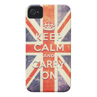 Vintage Union Jack flag keep calm and carry on iPhone 4 Case