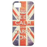 Vintage Union Jack flag keep calm and carry on iPhone 5 Cases