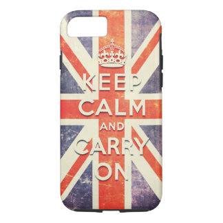 Vintage Union Jack flag keep calm and carry on iPhone 7 Case