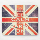 Vintage Union Jack flag keep calm and carry on Mousepad