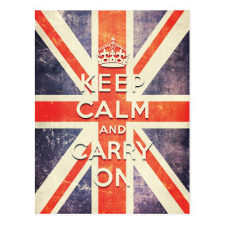 Vintage Union Jack flag keep calm and carry on Postcard