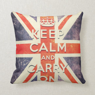 Vintage Union Jack flag  - keep calm and carry on Throw Pillow