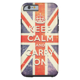Vintage Union Jack flag keep calm and carry on Tough iPhone 6 Case