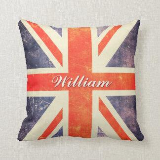 Vintage Union Jack flag personalized Pillow