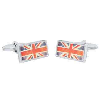 Vintage Union Jack flag Silver Finish Cuff Links