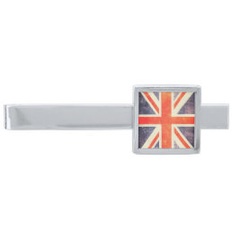 Vintage Union Jack flag Silver Finish Tie Bar