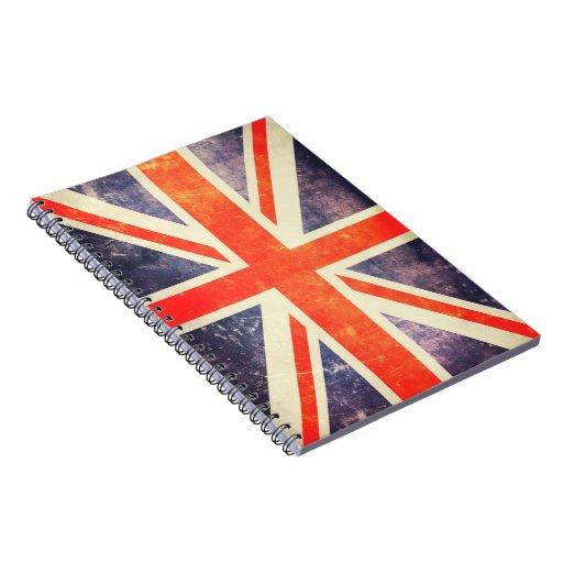 Vintage Union Jack flag Spiral Note Book