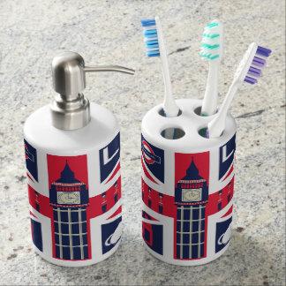 vintage union jack flag with london decoration bath set