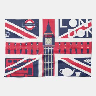vintage union jack flag with london decoration kitchen towel