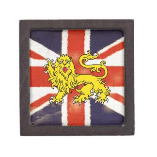Vintage Union Jack Heraldry Lion Keepsake Box