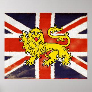 Vintage Union Jack Heraldry Lion Poster