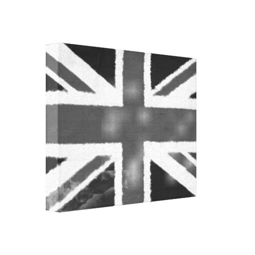 Vintage Union Jack in Black and White Canvas Print