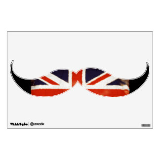 Vintage Union Jack Mustache Mod Wall Decal