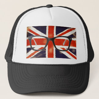 Vintage Union Jack Nerdy Glasses Trucker Hat