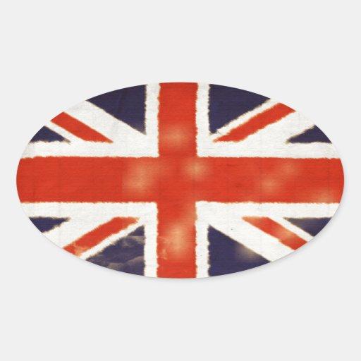 Vintage Union Jack Oval Sticker