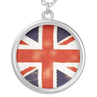 Vintage Union Jack Silver Necklace