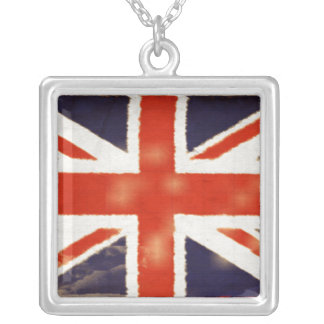 Vintage Union Jack Silver Necklace (Square)