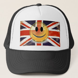 Vintage Union Jack Smiley Face Trucker Hat