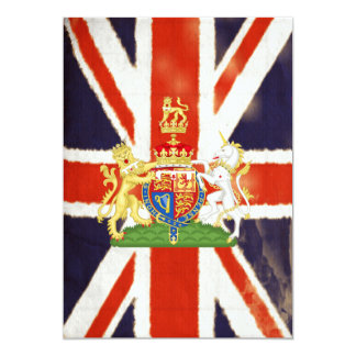 Vintage Union Jack With Coat Of Arms Invitations