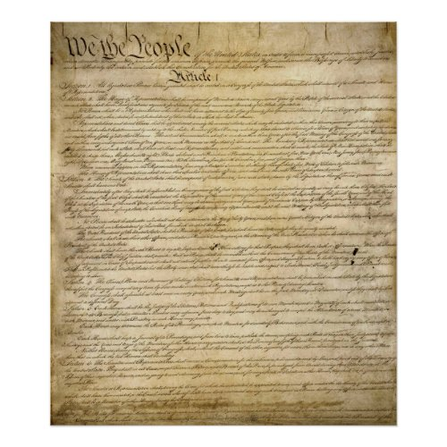 Vintage United States Constitution Poster