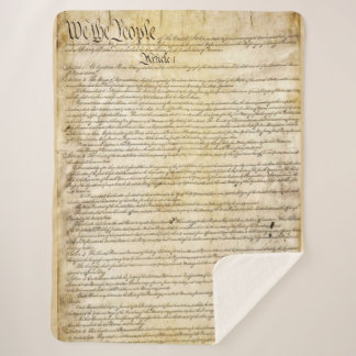 Vintage United States Constitution Sherpa Blanket