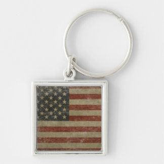 Vintage United States Flag Silver-Colored Square Keychain