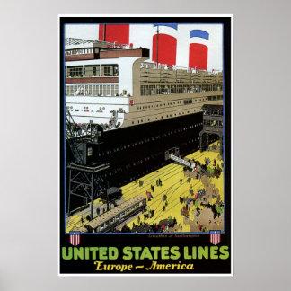 Vintage United States Lines Europe America Print