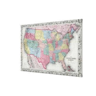 Vintage United States Map (1853) Canvas Print