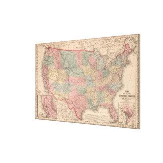 Vintage United States Map (1859) Canvas Print