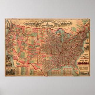 Vintage United States Map (1883) Poster