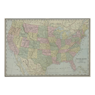 Vintage United States Map (1889) Poster