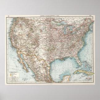 Vintage United States Map (1900) Poster