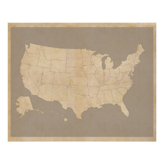 Vintage United States Map Poster
