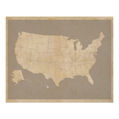 United States Map Outline Poster Zazzlecom - Us map with states outlines 8 1 2 x 11
