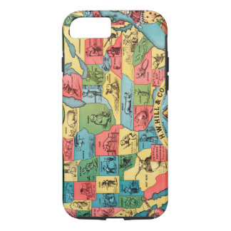 Vintage United States Nicknames Map iPhone 8/7 Case