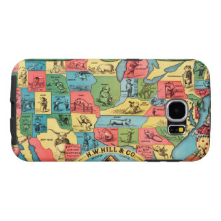 Vintage United States Nicknames Map Samsung Galaxy S6 Case