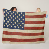 Vintage United States of America Flag Fleece Blanket