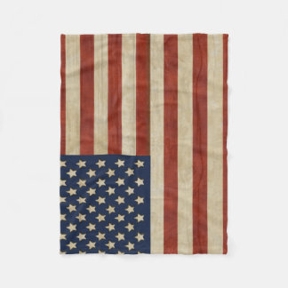 Vintage United States of America Flag Fleece Blanket
