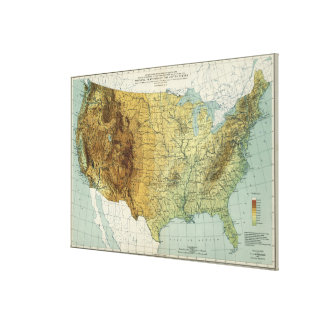Vintage United States Physical Features Map 1915 Canvas Print