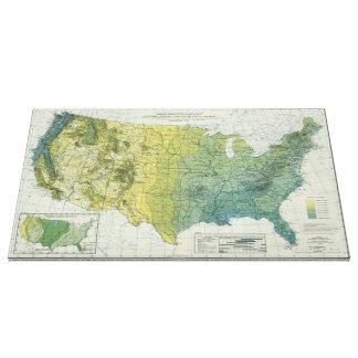 Vintage United States Precipitation Map (1916) Canvas Print