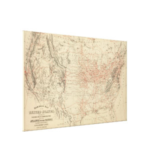 Vintage United States Railroad Map (1886) Canvas Print