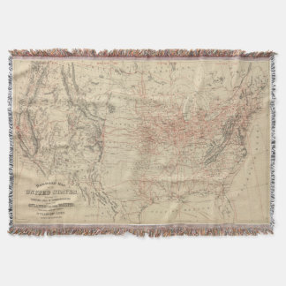 Vintage United States Railroad Map (1886) Throw Blanket