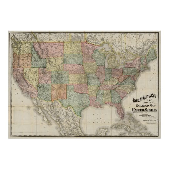 Vintage United States Railroad Map 1907 Poster Zazzle Com