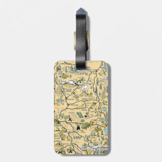 Vintage Upper Northern California Map Luggage Tag