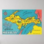 Vintage Upper Peninsula Michigan Travel Poster